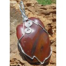 Mahogany Obsidian Pendant set in silver coloured wire (€ 7.50)